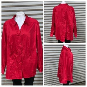 Lane Bryant red long sleeve button up blouse